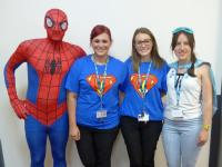 superheros dressed up for charity week