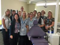 Coventry Community Dental staff showing their support for Mouth Cancer Action's Blue Wednesday
